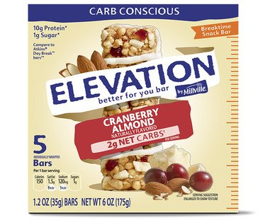 Elevation by Millville Cranberry Almond Breaktime Bars 6oz(1.2oz x 5 bars) , pack of 1