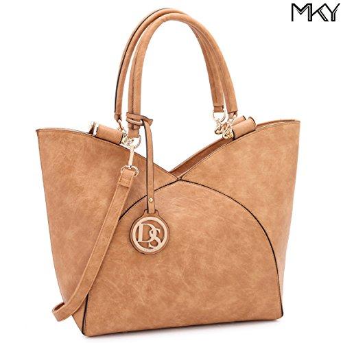 Design Large Leather Tote Top Handle Shoulder Bag Satchel Purse Two Tone Tan
