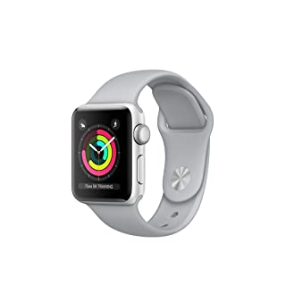 Apple Watch Series 3 38mm Smartwatch (GPS Only, Silver Aluminum Case, Fog Sport Band) (Certified Refurbished)
