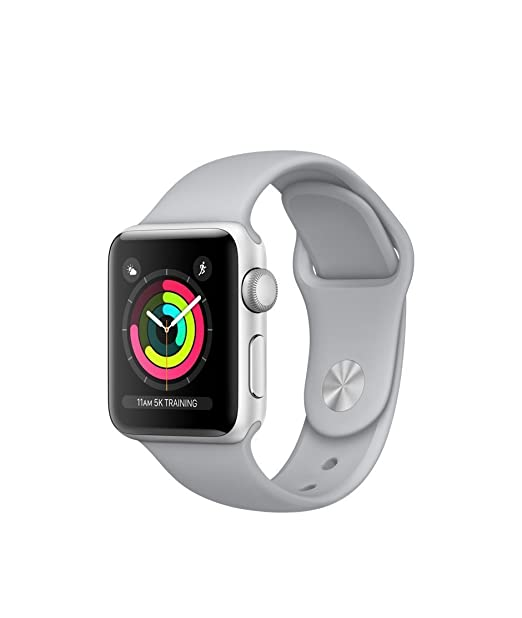 Apple Watch Series 3 38mm Smartwatch (Gps Only, Silver Aluminum Case, Fog Sport Band) (Certified Refurbished) by Apple