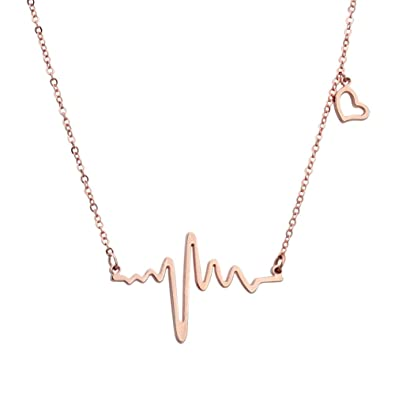 Amazoncom ELBLUVF 18k Rose Gold Plated Stainlesssteel Heart