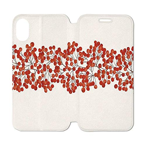 (Rowan Leather Phone Case,Border with Wild Red Mountain Ashes on Twigs Hand Painted Natural Artwork Print Decorative Compatible with iPhone Xs Max, iPhone Xs)