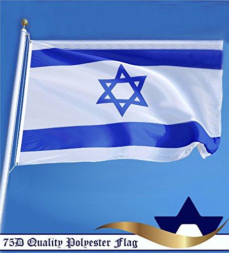 G128 - Israel Polyester Flag 3x5 ft Printed Brass Grommets (Israel Indoor Flag)