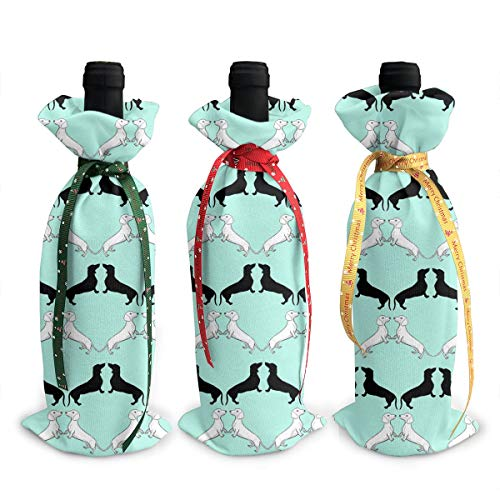 Wodehous Adonis Dachshund Wallpaper 3pcs Christmas Wine Bottle Covers Bags Gift Champagne Bags Home Party Decoration