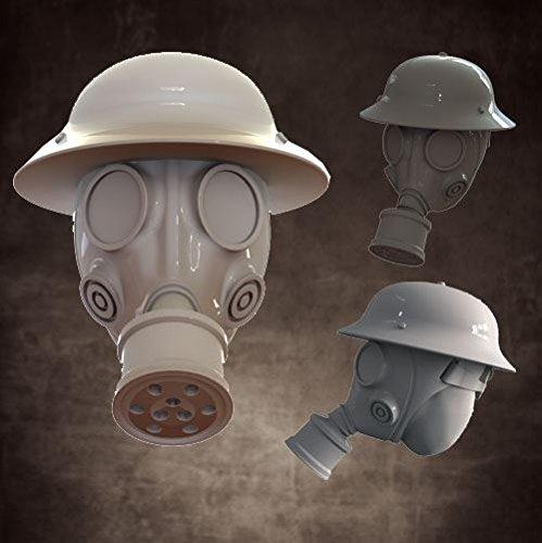 Miniature Conversion Bits 28mm Head Swaps - Gas Mask w/Pan ()