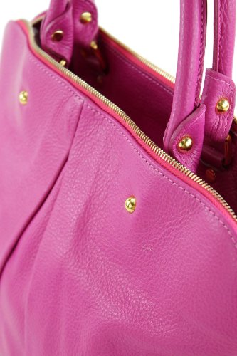 ital. Tasche Damentasche Handtasche Tragetasche Ledertasche Echt Leder T39 Pink h5XHjO