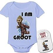 Apparel USA I AM Groot Cute Theme Baby Bodysuit Onesie & Matching Bib