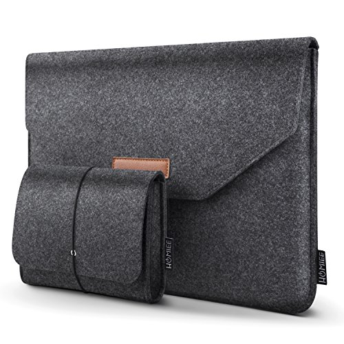 "HOMIEE 13-13.3 Inch Felt Laptop Sleeve Portable MacBook Case for MacBook Pro 2016-2018, MacBook Air 2017-2018, 12.9"" iPad Pro, Dell XPS 13, Lenovo/HP/Chromebook Ultra Slim Notebook, Dark Gray"