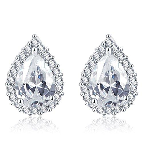 FENDINA Women 18K White Gold Plated Teardrop Shaped Wedding Stud Earrings Big Bling Cubic Zirconia Stones Halo Dangle Drop (Kwiat Star Earrings)