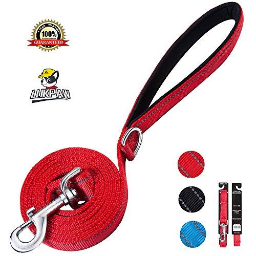 LukPaw Heavy Duty Dog Leash Reflective Large Dog Leash 6ft Nylon Rope Dog Training Leash for Large Dogs Medium Dogs (RED)