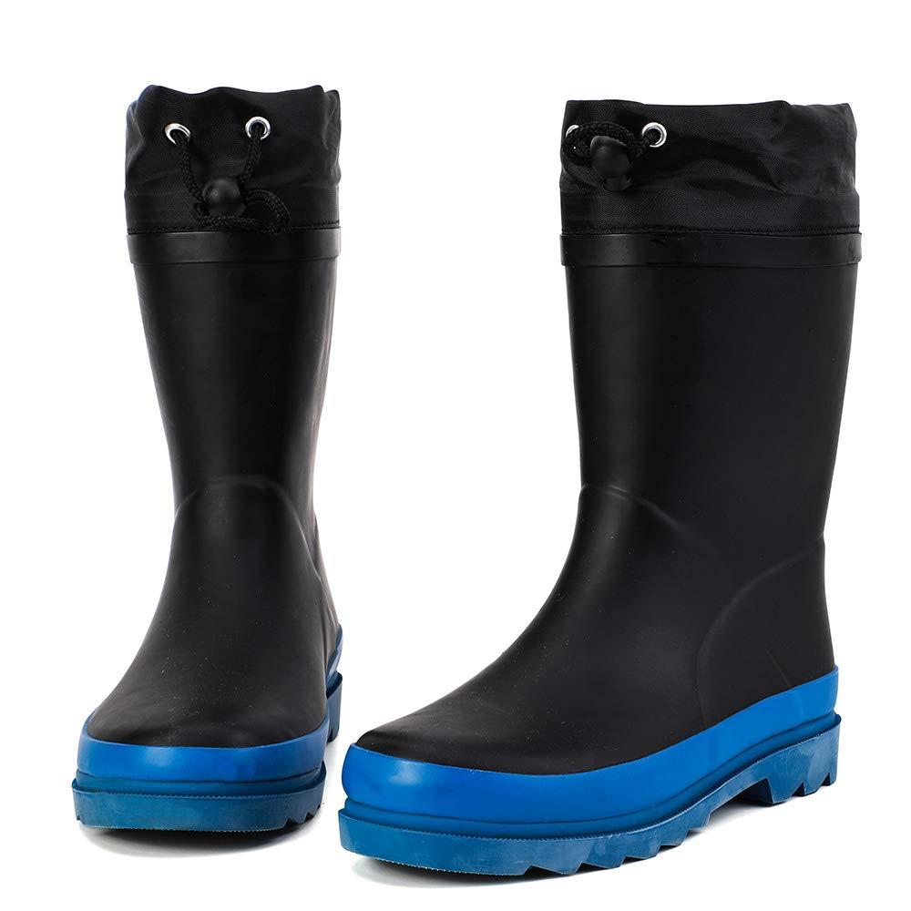 ALEADER Kids Waterproof Rubber Rain Boots for Girls, Boys & Toddlers with Fun Prints & Handles Black/Blue 1 M US Lttile Kid
