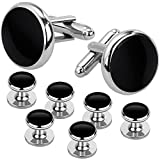 Rovtop Cufflinks and Studs Set for Tuxedo Shirts Business or Wedding with 2 Black Cufflinks and 6 Sliver Studs