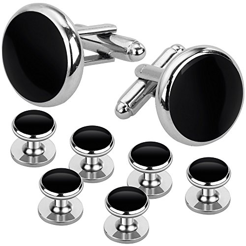 Rovtop Cufflinks and Studs Set for Tuxedo Shirts Business Wedding 2 Cufflinks and 6 (Black Stud Cufflinks)