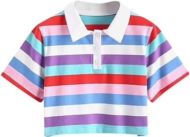 FELZ Camisetas Mujer Manga Corta Verano Moda Señoras Camiseta de Fiesta Playa con Botones Sexy Chicas Solapa Blusas A Rayas Slim Fit Camisa Corta Camisa Deportiva Casual Tank Tops: Amazon.es: Ropa y