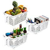 Kurtzy White Handy Storage Baskets/Boxes with handles Pack of 3 - Plastic Kitchen Organizers - Stackable Shelf Baskets for Bedroom, Office, Wardrobe, and Bathroom Containers 21x13x11 cm