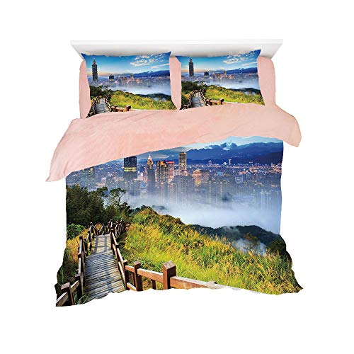 Sage Cosmopolitan Green (Flannel 4 Pieces on The Bed Duvet Cover Set 3D Printed for Bed Width 4ft Pattern Customized Bedding for Girls and Young Children,Scenery Decor,Beautiful Scenery of a City Cosmopolitan Life and Nature)