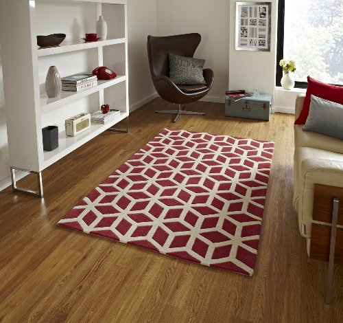 Handmade Optical Illusion Modern Floor Rug with Geometric Design 100% Wool Pile Color Teal Beige (8.0x10.0ft)