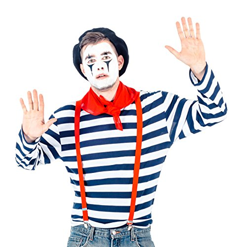 Mime Halloween Outfit (Men's Mime Costume Set with Makeup Kit (Adult)