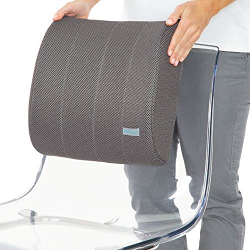 Xtra-Comfort Lumbar Support for Office Chair- Lumbar Pillow For Car, Gaming, Men, Women - Ergonomic Orthopedic Foam Roll & Adjustable Strap For Therapeutic Lower Pain Relief - Mesh Cover