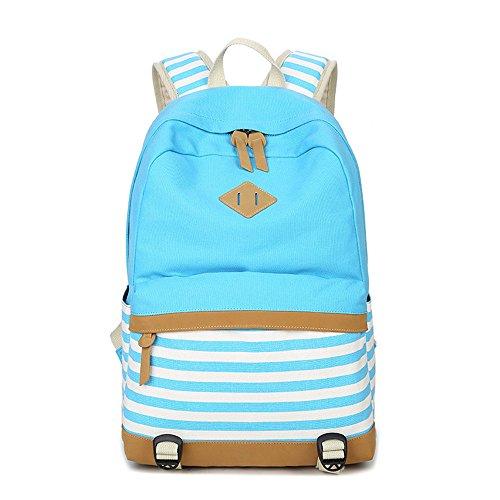 Rayas Casual lona portátil bolso escolar mochila ligera mochilas para niñas adolescentes (Azul de cielo)