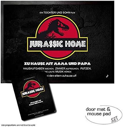 1art1 Humor, Jurassic Home, Zu Hause Mit Mama Und Papa Felpudo Alfombra (70x50 cm) + Alfombrilla para Ratón (23x19 cm) Set Regalo