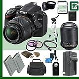 Nikon D3200 CMOS DSLR Camera with 18-55mm VR Lens (Black) + Nikon 55-200mm f/4-5.6G ED IF AF-S DX VR Lens + 64GB + Green's Camera Bundle