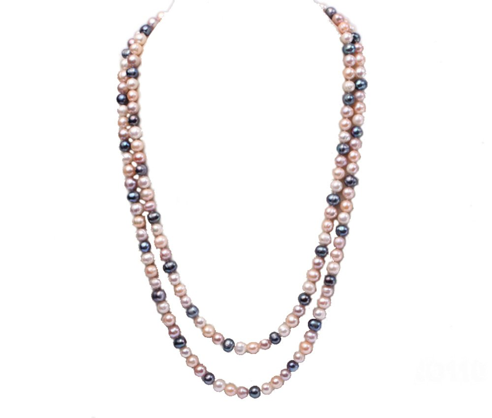 JYX 9-10mm Multicolor Round Freshwater Pearl Necklace Sweater Necklace 60''