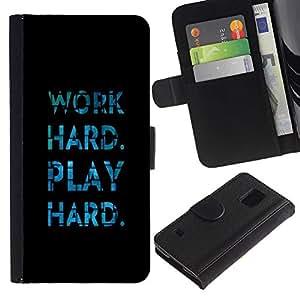 Planetar® Modelo colorido cuero carpeta tirón caso cubierta piel Holster Funda protección Para Samsung Galaxy S5 V SM-G900 ( El trabajo duro Juego Azul Negro Diversión texto )