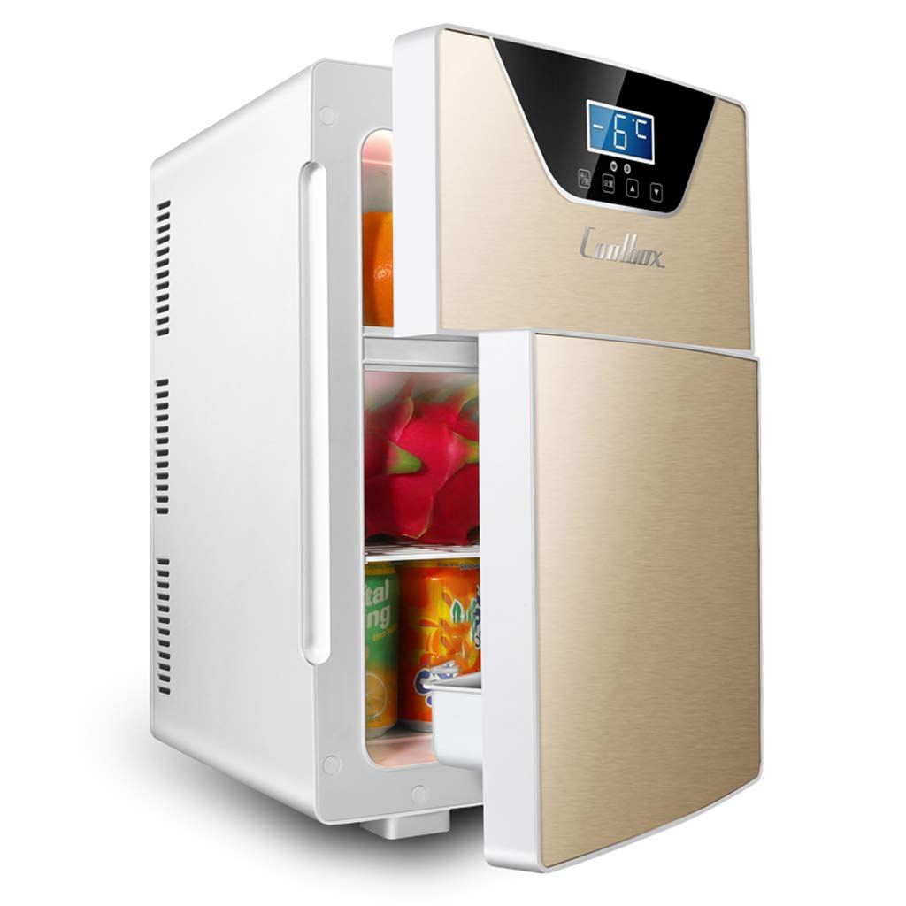 Lxn 20L CNC Version Electric Mini Fridge Cooler and Warmer - Double Door/Triple-core - for Home,Office, Car, Dorm or Boat - Compact & Portable - AC & DC Power Cords