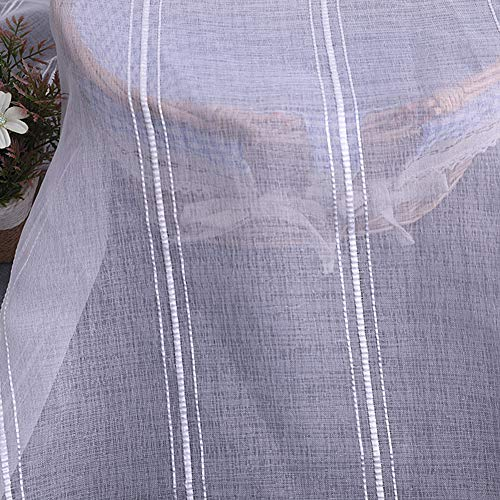 Aside Bside Home Treatment Voile Panels Rod Pockets Classic Style Sheer Curtains Stripes Embroidered Bedroom Kids Room Dining Room (1 Panel, W 52 x L 95 inch, ()