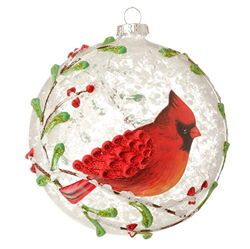 Red Cardinal & Berry Branches Glass Ball Christmas Tree Ornament, 5 Inches - Cardinals Hand Painted Ball Ornament