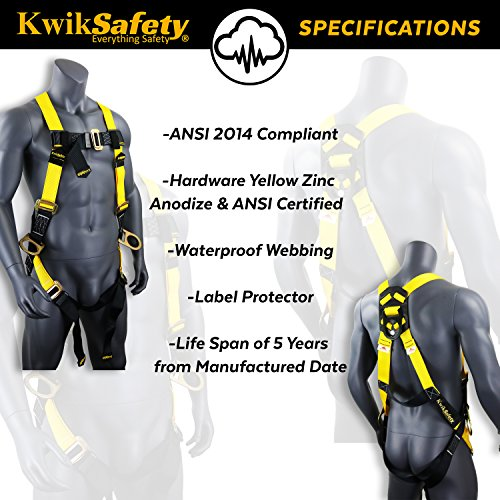 KwikSafety (Charlotte, NC) THUNDER (4 PACK) | OSHA ANSI Fall Protection Full Body Safety Harness | Personal Protective Equipment Dorsal Ring Side D-Rings | Universal Construction Industrial Roofing by KwikSafety (Image #5)
