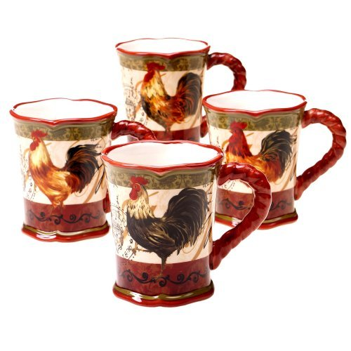 (Certified International Tuscan Rooster Mug, 16-Ounce, Assorted Designs, Set of 4 by Certified International)
