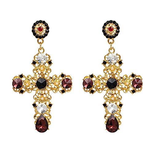 Vintage Boho Crystal Cross Drop Earrings for Women Baroque Bohemian Large Long Earrings Jewelry,RED
