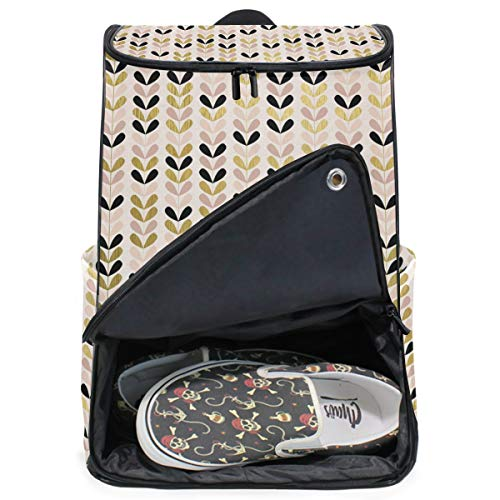 (DEZIRO Color Gold Flowers in String Travel Laptop Backpack Business Durable Laptops Backpack for Women & Men)