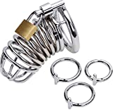 Uleade™ Steel Metal Male Chastity Device Locked Cage Sex Toy for Men (3 Rings)