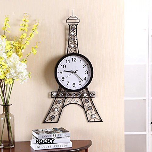 Large Wall Clock/European Style Retro Wall Clock Living Room Paris Tower Large Wall Clock Creative Mute Decorative Battery Wall Clock/Wall Clock