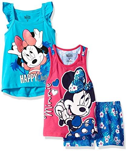 3 Piece Minnie Mouse Short Set, Blue/Hot Pink, 6
