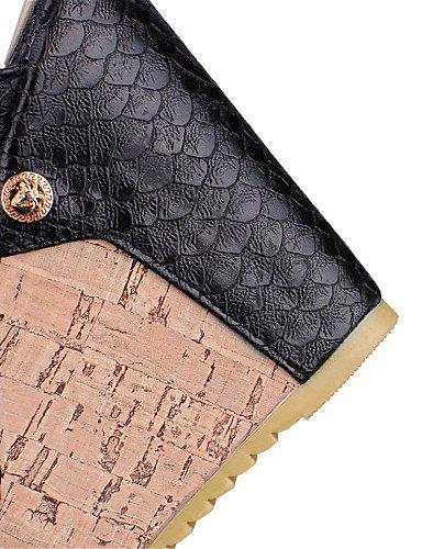 LFNLYX Chaussures Femme-Mariage / Habillé / Décontracté / Soirée & Evénement-Noir / Blanc-Talon Compensé-Compensées-Sandales-Matières , black , us6 / eu36 / uk4 / cn36