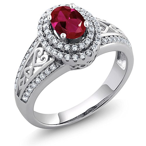 Gem Stone King Sterling Silver Red Created Ruby Women's Ring 1.36 cttw (Available 5,6,7,8,9) (Size 8)