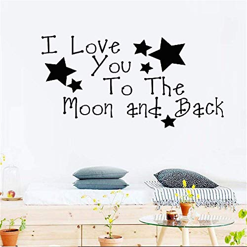 Vinyl Wall Art Inspirational Quotes and Saying Home Decor Decal Sticker I Love You to The Moon and Back Again for Nursery Kids Room Boys Girls Room