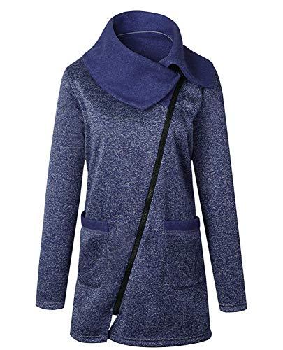 Cardigan Manica Especial Cerniera Collo Outdoor Invernali Coat Blau Donna Giacca Moda Tasche Jacket Con Estilo Alto Anteriori Lunga Comodo PwA4T