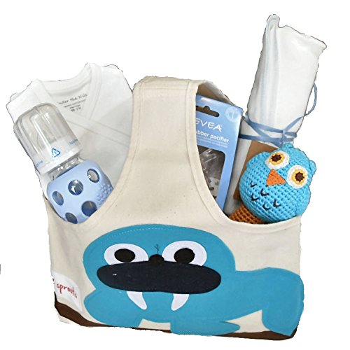 Organic Baby Gift Basket - Baby Gift for Boy Blue NB-3 Months by our green house