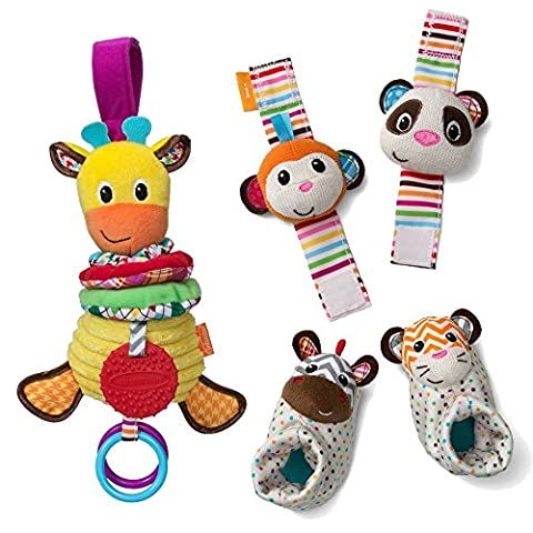 Infantino See Play Go Toy Bundle Foot and Wrist Rattles, Musical Giraffe (Booties With Rattles)