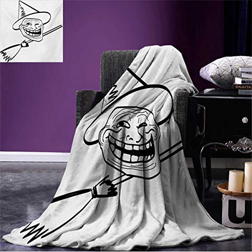 Anniutwo Humor Cool Blanket Halloween Spirit Themed Witch Guy Meme LOL Joy Spooky Avatar Artful Image Print Pattern Black and White W80 x L60 inch