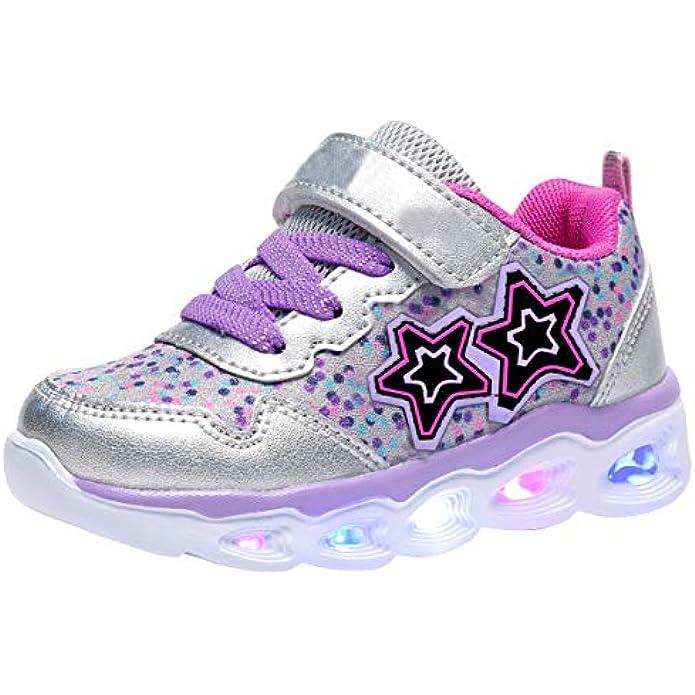 COODO Toddler Kid Girls Sneakers Flashing Glitter Shoes
