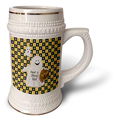 3dRose Beverly Turner Halloween Design - Ghosts and Pumpkin, Spooky Day, Squares of Candy Corns and Stars - 22oz Stein Mug (stn_302006_1)