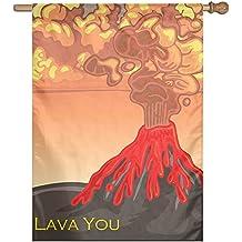 Lava You Burning Mountain Home Garden Flag Banner House Flag Set For All Festival