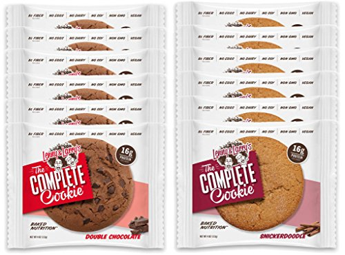 Lenny & Larry's The Complete Cookie - 6 Double Chocolate Chip and 6 Snickerdoodle (Pack of 12)