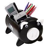 UQueen UQ6013 Creative Pigs Plastic Office Desktop Stationery Cell Phone Remote Control Storage Box Organizer (Black)